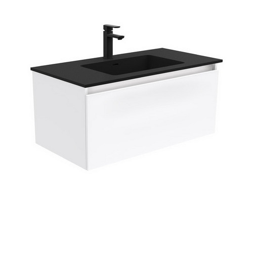 Montana 900 Solid Surface Moulded Basin-Top + Manu Gloss White Cabinet Wall-Hung 4 Internal Drawer 3 Tap Hole [196479]