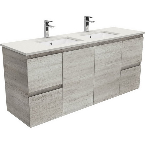 Sarah Roman Sand Undermount Double Bowl 1500 Edge Industrial Vanity Wall-Hung No Tap Hole [197462]