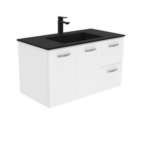 Montana 900 Solid Surface Moulded Basin-Top + Unicab Gloss White Cabinet Wall-Hung 2 Door 2 Right Drawer 3 Tap Hole [196483]