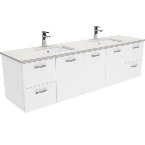 Sarah Roman Sand Undermount Double Bowl 1800 Unicab Gloss White Extra Wide Vanity Wall-Hung No Tap Hole [197498]