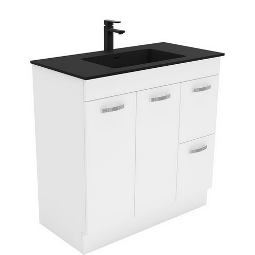 Montana 900 Solid Surface Moulded Basin-Top + Unicab Gloss White Cabinet on Kick Board 2 Door 2 Right Drawer 1 Tap Hole [196486]