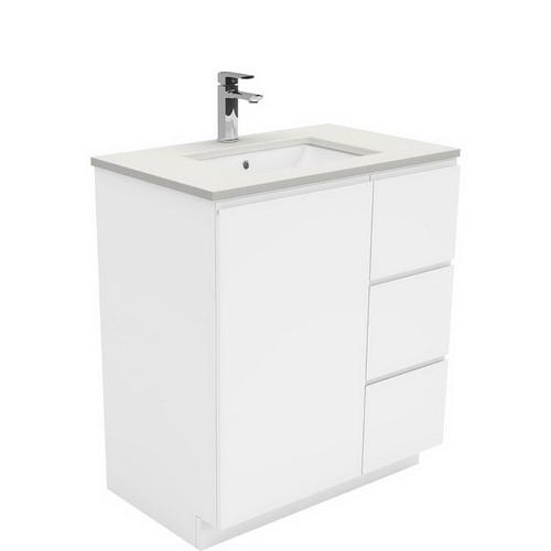 Sarah Roman Sand Undermount 750 Fingerpull Gloss White Vanity on Kick Board 1 Door 3 Right Drawer 3 Tap Hole [197520]