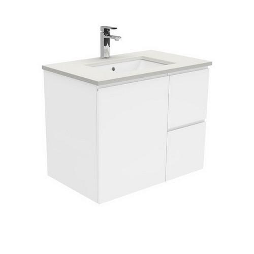 Sarah Roman Sand Undermount 750 Fingerpull Gloss White Vanity Wall-Hung 1 Door 2 Left Drawer No Tap Hole [197522]