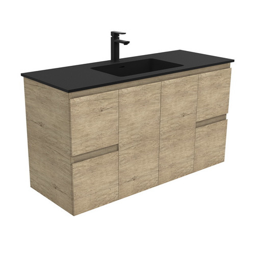 Montana 1200 Solid Surface Moulded Basin-Top + Edge Scandi Oak Cabinet Wall-Hung 2 Door 4 Drawer 3 Tap Hole [196385]