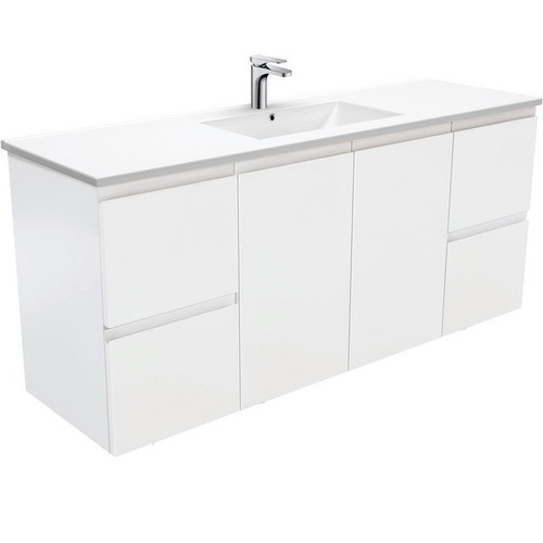 Dolce 1500 Ceramic Moulded Basin-Top, Single Bowl + Fingerpull Satin White Cabinet Wall-Hung 1 Tap Hole [197527]