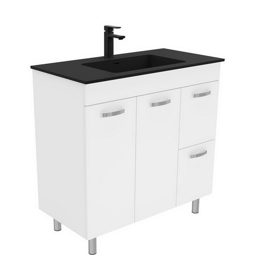 Montana 900 Solid Surface Moulded Basin-Top + Unicab Gloss White Cabinet on Legs 2 Door 2 Left Drawer 3 Tap Hole [196489]