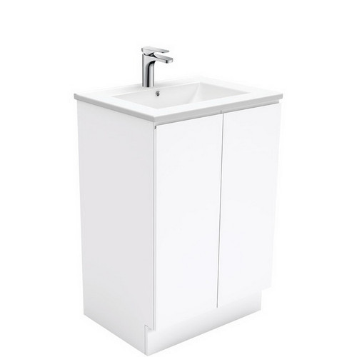 Dolce 600 Ceramic Moulded Basin-Top + Fingerpull Gloss White Cabinet on Kick Board 3 Tap Hole [197530]