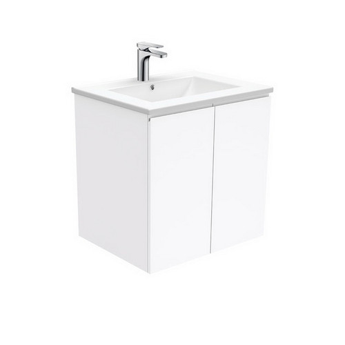 Dolce 600 Ceramic Moulded Basin-Top + Fingerpull Gloss White Cabinet Wall-Hung 3 Tap Hole [197532]