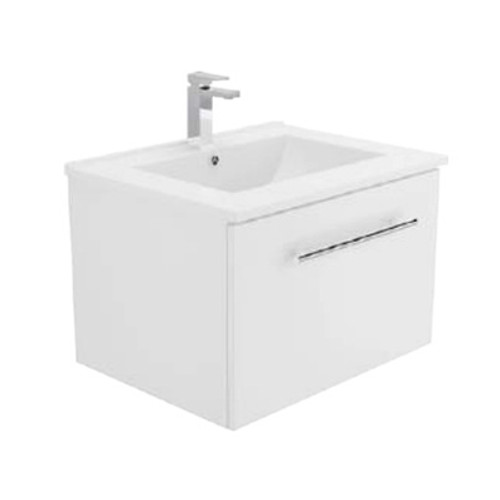 Dolce 600 Ceramic Moulded Basin-Top + Manu Gloss White Cabinet Wall-Hung No Tap Hole [197533]