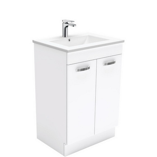 Dolce 600 Ceramic Moulded Basin-Top + Unicab Gloss White Cabinet on Kick Board No Tap Hole [197538]