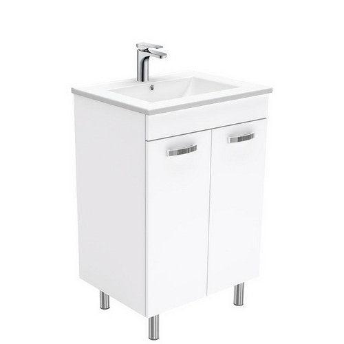 Dolce 600 Ceramic Moulded Basin-Top + Unicab Gloss White Cabinet on Legs No Tap Hole [197541]