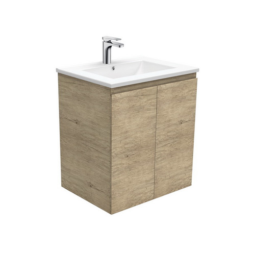 Dolce 600 Ceramic Moulded Basin-Top + Edge Scandi Oak Cabinet Wall-Hung 1 Tap Hole [197546]