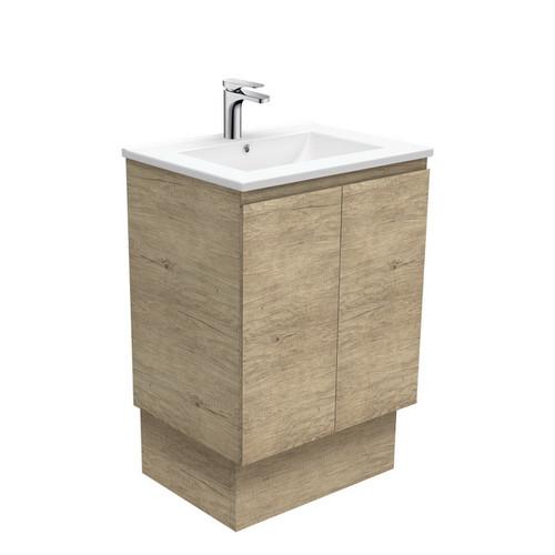 Dolce 600 Ceramic Moulded Basin-Top + Edge Scandi Oak Cabinet on Kick Board 1 Tap Hole [197547]