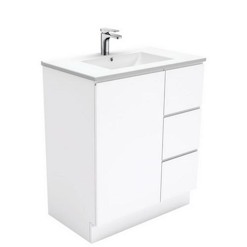 Dolce 750 Ceramic Moulded Basin-Top + Fingerpull Gloss White Cabinet on Kick Board 1 Door 3 Left Drawer 3 Tap Hole [197557]