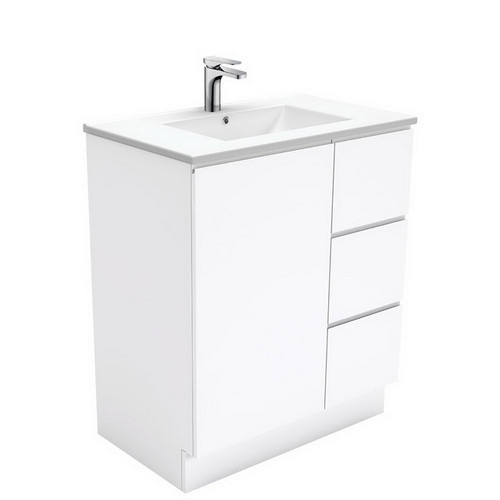 Dolce 750 Ceramic Moulded Basin-Top + Fingerpull Gloss White Cabinet on Kick Board 1 Door 3 Right Drawer No Tap Hole [197558]