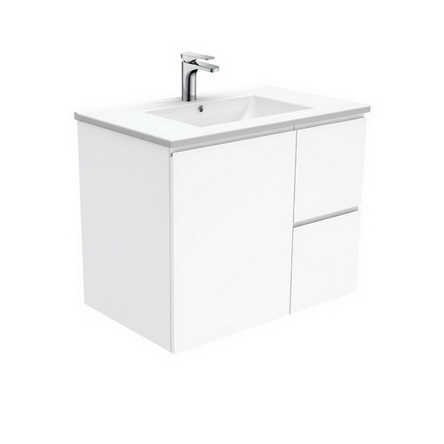 Dolce 750 Ceramic Moulded Basin-Top + Fingerpull Gloss White Cabinet Wall-Hung 1 Door 2 Right Drawer 3 Tap Hole [197563]
