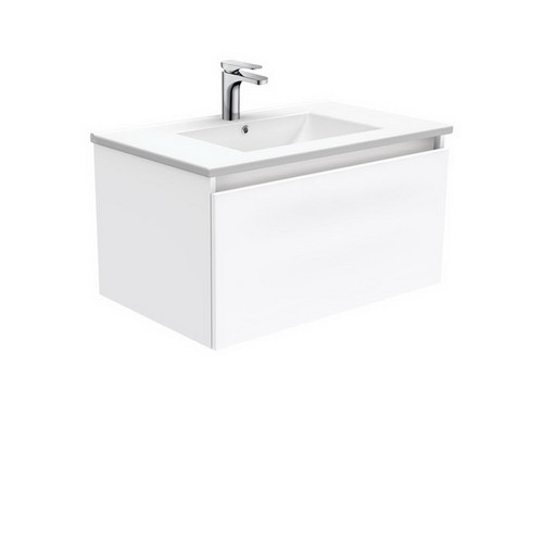 Dolce 750 Ceramic Moulded Basin-Top + Manu Gloss White Cabinet Wall-Hung 2 Internal Drawer No Tap Hole [197564]