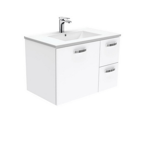 Dolce 750 Ceramic Moulded Basin-Top + Unicab Gloss White Cabinet Wall-Hung 1 Door 2 Left Drawer No Tap Hole [197566]