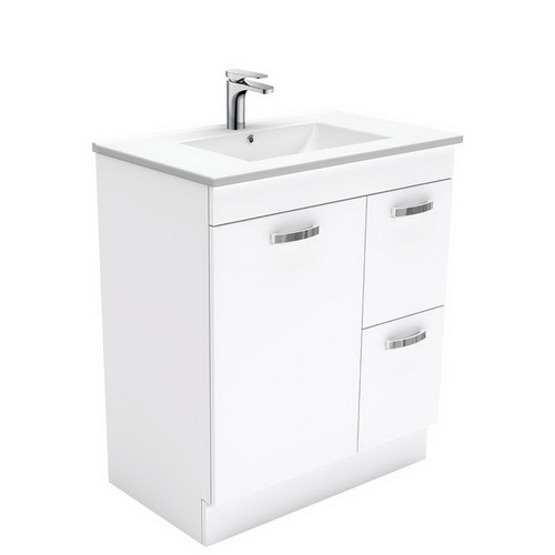 Dolce 750 Ceramic Moulded Basin-Top + Unicab Gloss White Cabinet on Kick Board 1 Door 2 Right Drawer No Tap Hole [197574]