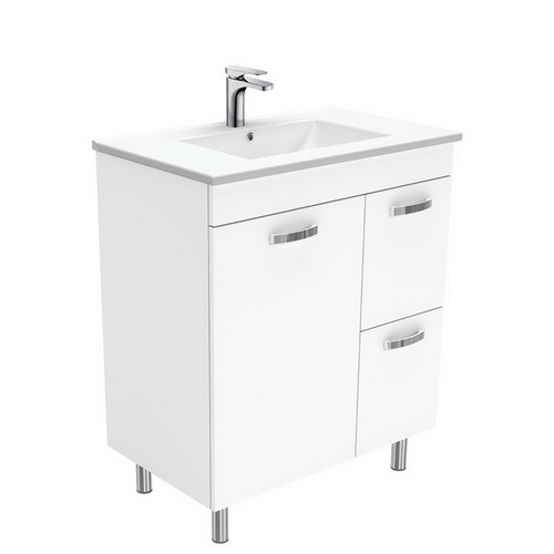 Dolce 750 Ceramic Moulded Basin-Top + Unicab Gloss White Cabinet on Legs 1 Door 2 Left Drawer No Tap Hole [197578]
