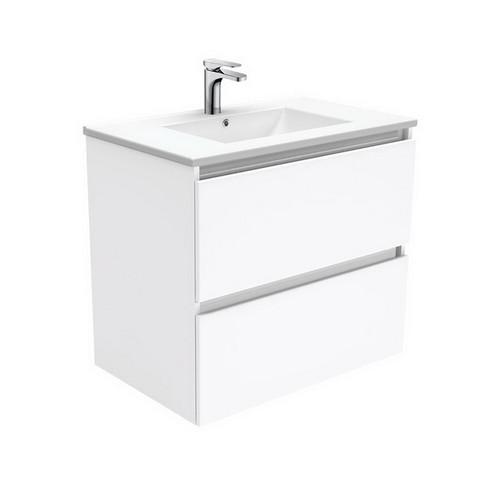 Dolce 750 Ceramic Moulded Basin-Top + Quest Gloss White Cabinet Wall-Hung 2 Drawer 3 Tap Hole [197587]