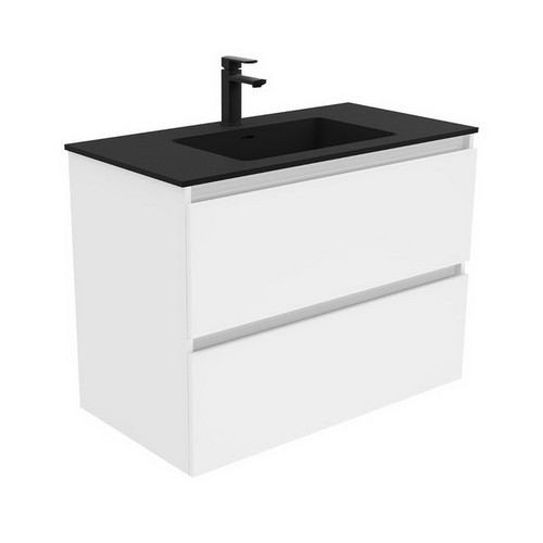 Montana 900 Solid Surface Moulded Basin-Top + Quest Gloss White Cabinet Wall-Hung 2 Drawer 3 Tap Hole [196495]