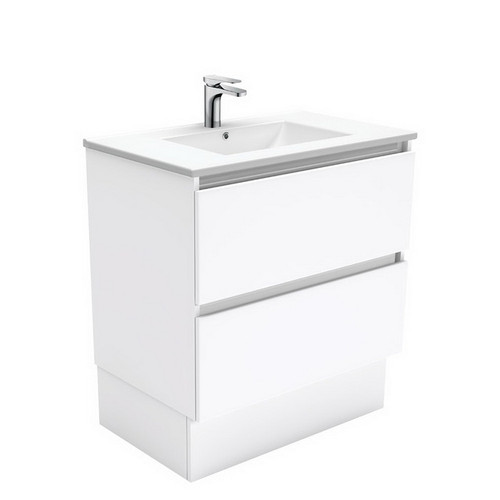Dolce 750 Ceramic Moulded Basin-Top + Quest Gloss White Cabinet on Kick Board2 Drawer No Tap Hole [197589]