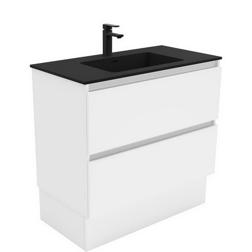 Montana 900 Solid Surface Moulded Basin-Top + Quest Gloss White Cabinet on Kick Board 2 Drawer 1 Tap Hole [196496]
