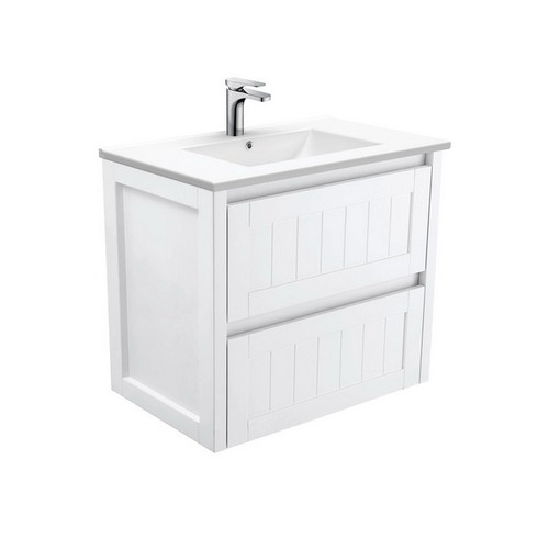 Dolce 750 Ceramic Moulded Basin-Top + Hampton Satin White Cabinet Wall-Hung 3 Tap Hole [197605]