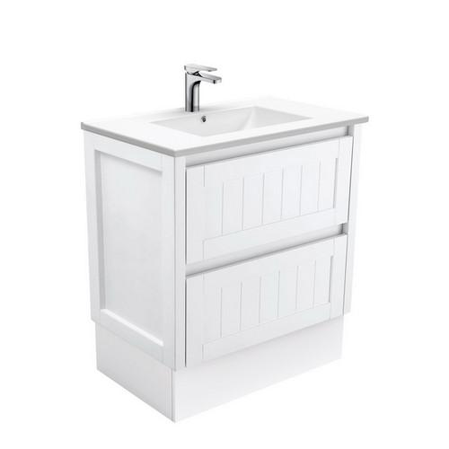Dolce 750 Ceramic Moulded Basin-Top + Hampton Satin White Cabinet on Kick Board 3 Tap Hole [197608]