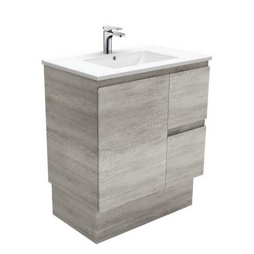 Dolce 750 Ceramic Moulded Basin-Top + Edge Industrial Cabinet on Kick Board 1 Door 2 Left Drawer No Tap Hole [197609]