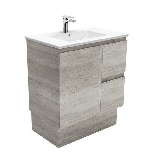 Dolce 750 Ceramic Moulded Basin-Top + Edge Industrial Cabinet on Kick Board 1 Door 2 Right Drawer No Tap Hole [197611]