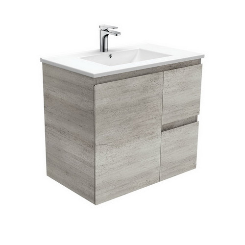 Dolce 750 Ceramic Moulded Basin-Top + Edge Industrial Cabinet Wall-Hung 1 Door 2 Right Drawer No Tap Hole [197615]