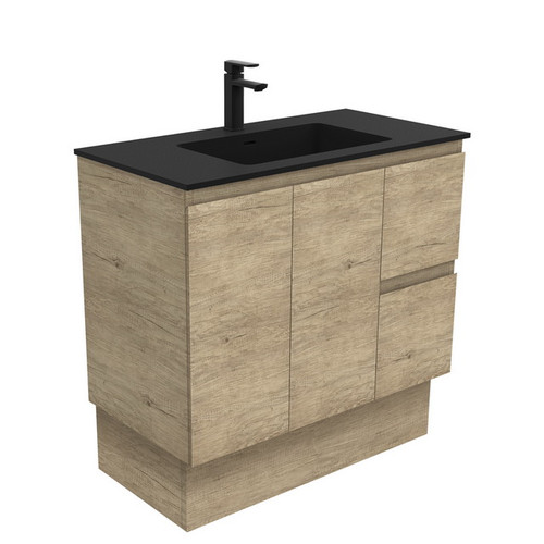 Montana 900 Solid Surface Moulded Basin-Top + Edge Scandi Oak Cabinet on Kick Board 2 Door 2 Left Drawer 1 Tap Hole [196498]