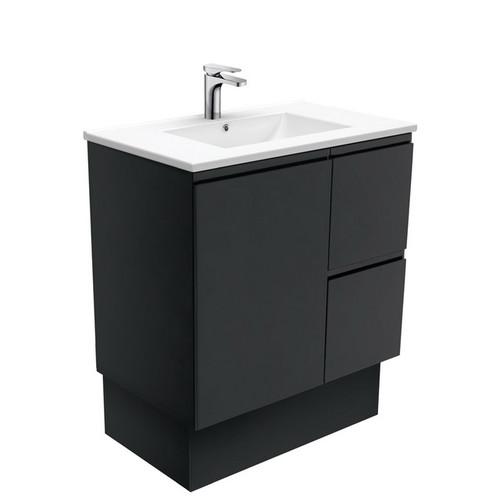 Dolce 750 Ceramic Moulded Basin-Top + Fingerpull Satin Black Cabinet on Kick Board 1 Door 2 Right Drawer No Tap Hole [197621]