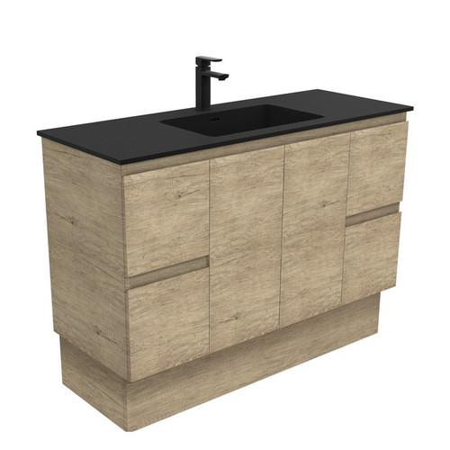 Montana 1200 Solid Surface Moulded Basin-Top + Edge Scandi Oak Cabinet on Kick Board 2 Door 4 Drawer 1 Tap Hole [196386]