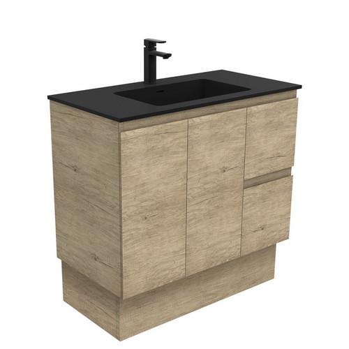 Montana 900 Solid Surface Moulded Basin-Top + Edge Scandi Oak Cabinet on Kick Board 2 Door 2 Left Drawer 3 Tap Hole [196499]