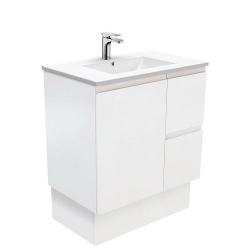 Dolce 750 Ceramic Moulded Basin-Top + Fingerpull Satin White Cabinet on Kick Board 1 Door 2 Left Drawer No Tap Hole [197630]
