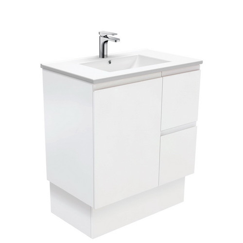 Dolce 750 Ceramic Moulded Basin-Top + Fingerpull Satin White Cabinet on Kick Board 1 Door 2 Right Drawer No Tap Hole [197633]
