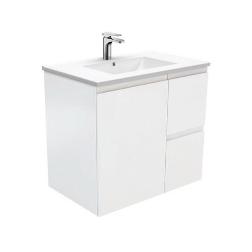 Dolce 750 Ceramic Moulded Basin-Top + Fingerpull Satin White Cabinet Wall-Hung 1 Door 2 Left Drawer 3 Tap Hole [197637]