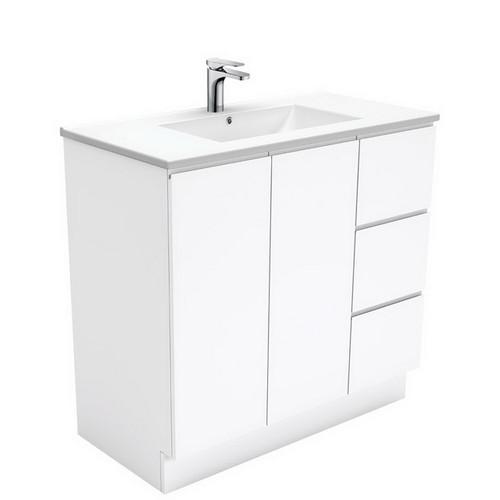 Dolce 900 Ceramic Moulded Basin-Top + Fingerpull Gloss White Cabinet on Kick Board 2 Door 3 Left Drawer 3 Tap Hole [197646]