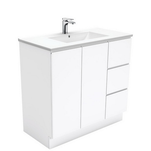 Dolce 900 Ceramic Moulded Basin-Top + Fingerpull Gloss White Cabinet on Kick Board 2 Door 3 Right Drawer No Tap Hole [197647]