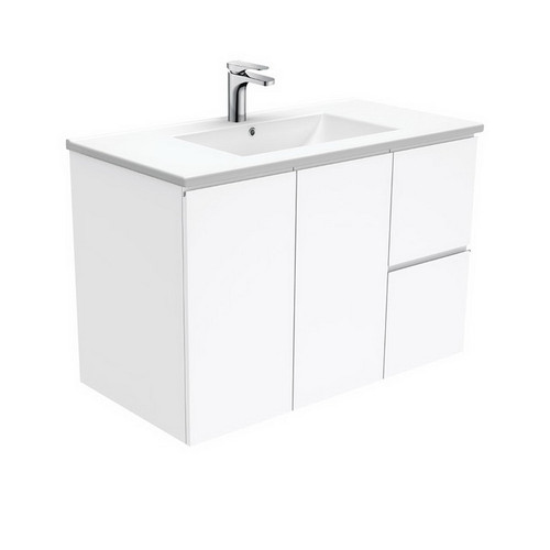 Dolce 900 Ceramic Moulded Basin-Top + Fingerpull Gloss White Cabinet Wall-Hung 2 Door 2 Right Drawer 3 Tap Hole [197652]