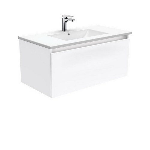 Dolce 900 Ceramic Moulded Basin-Top + Manu Gloss White Cabinet Wall-Hung 4 Internal Drawer 3 Tap Hole [197654]