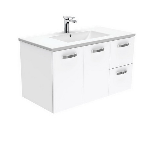 Dolce 900 Ceramic Moulded Basin-Top + Unicab Gloss White Cabinet Wall-Hung 2 Door 2 Left Drawer 3 Tap Hole [197656]