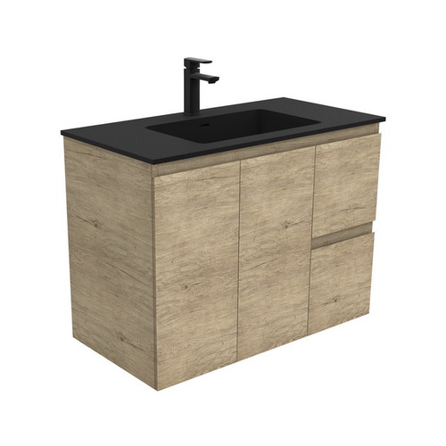 Montana 900 Solid Surface Moulded Basin-Top + Edge Scandi Oak Cabinet Wall-Hung 2 Door 2 Left Drawer 1 Tap Hole [196502]