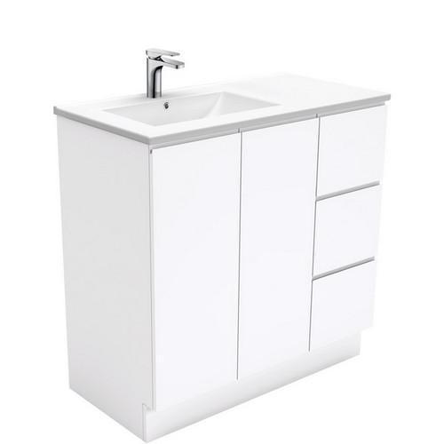 Dolce 900 Left Offset Ceramic Basin-Top + Fingerpull Gloss White Cabinet on Kick Board 2 Door 3 Drawer 3 Tap Hole [197660]