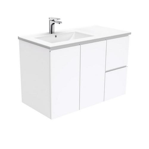 Dolce 900 Left Offset Ceramic Basin-Top + Fingerpull Gloss White Cabinet Wall-Hung 2 Door 2 Drawer 1 Tap Hole [197661]