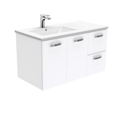 Dolce 900 Left Offset Ceramic Basin-Top + Unicab Gloss White Cabinet Wall-Hung 2 Door 2 Drawer 3 Tap Hole [197664]