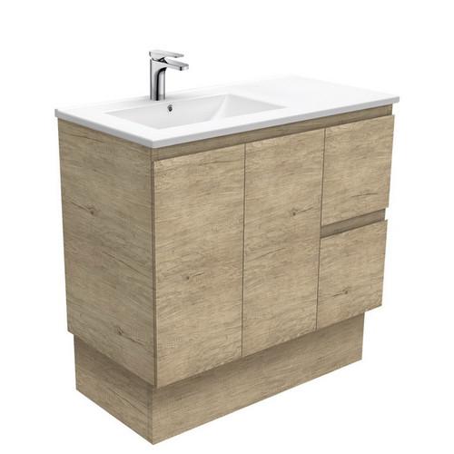 Dolce 900 Left Offset Ceramic Basin-Top + Edge Scandi Oak Cabinet on Kick Board 2 Door 2 Drawer 1 Tap Hole [197669]
